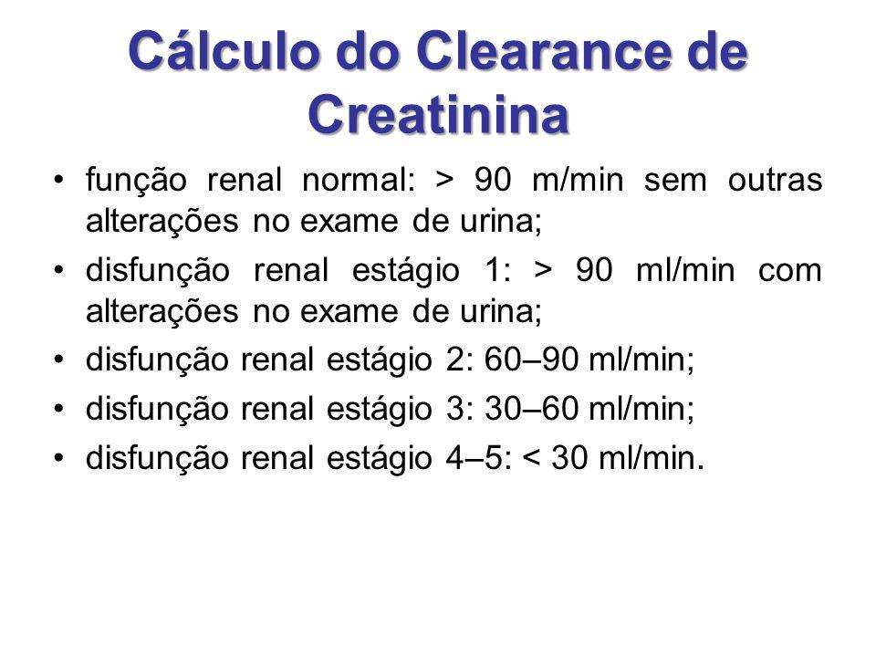 Cálculo do Clearance de Creatinina função renal normal: > 90 m/min sem outras alterações no exame de urina; disfunção renal estágio 1: > 90 ml/min com alterações no exame de urina; disfunção renal estágio 2: 60–90 ml/min; disfunção renal estágio 3: 30–60 ml/min; disfunção renal estágio 4–5: < 30 ml/min.