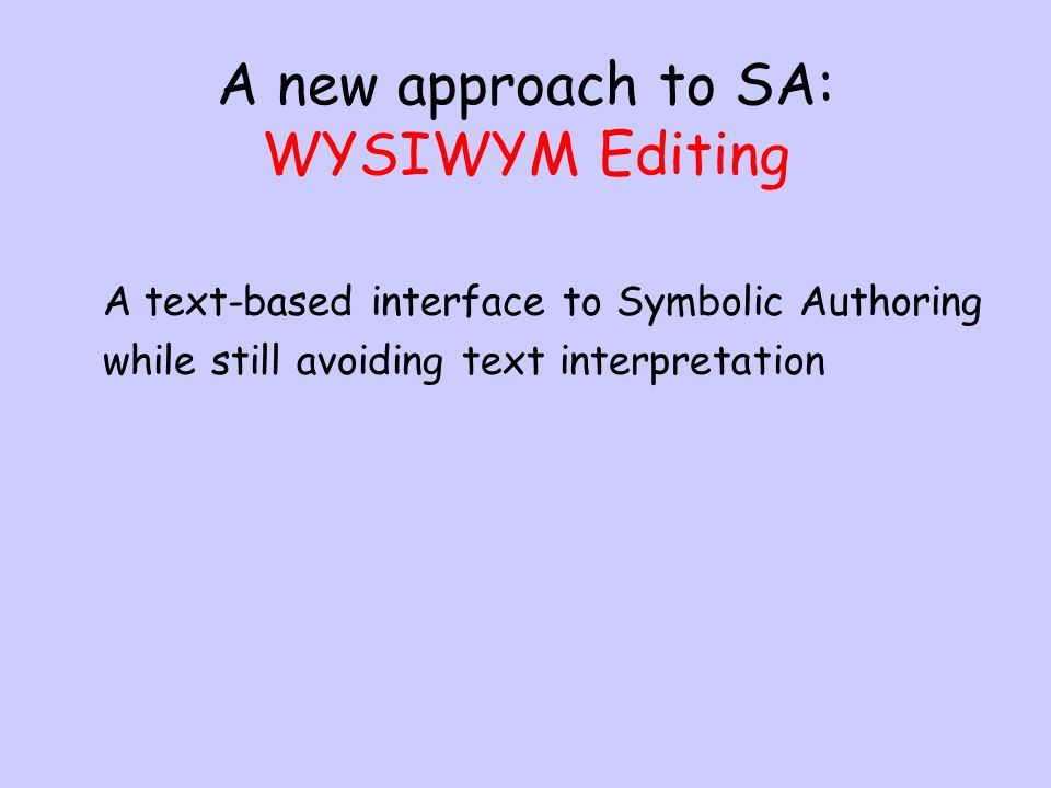 A new approach to SA: WYSIWYM Editing A text-based interface to Symbolic Authoring while still avoiding text interpretation