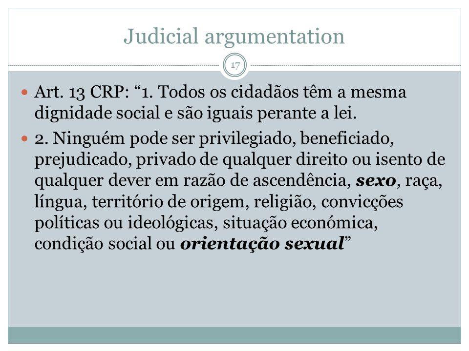 Judicial argumentation Art. 13 CRP: 1. Todos os cidadãos têm a mesma dignidade social e são iguais perante a lei. 2. Ninguém pode ser privilegiado, be