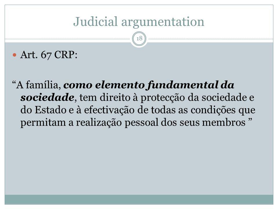 Judicial argumentation Art. 67 CRP: A família, como elemento fundamental da sociedade, tem direito à protecção da sociedade e do Estado e à efectivaçã