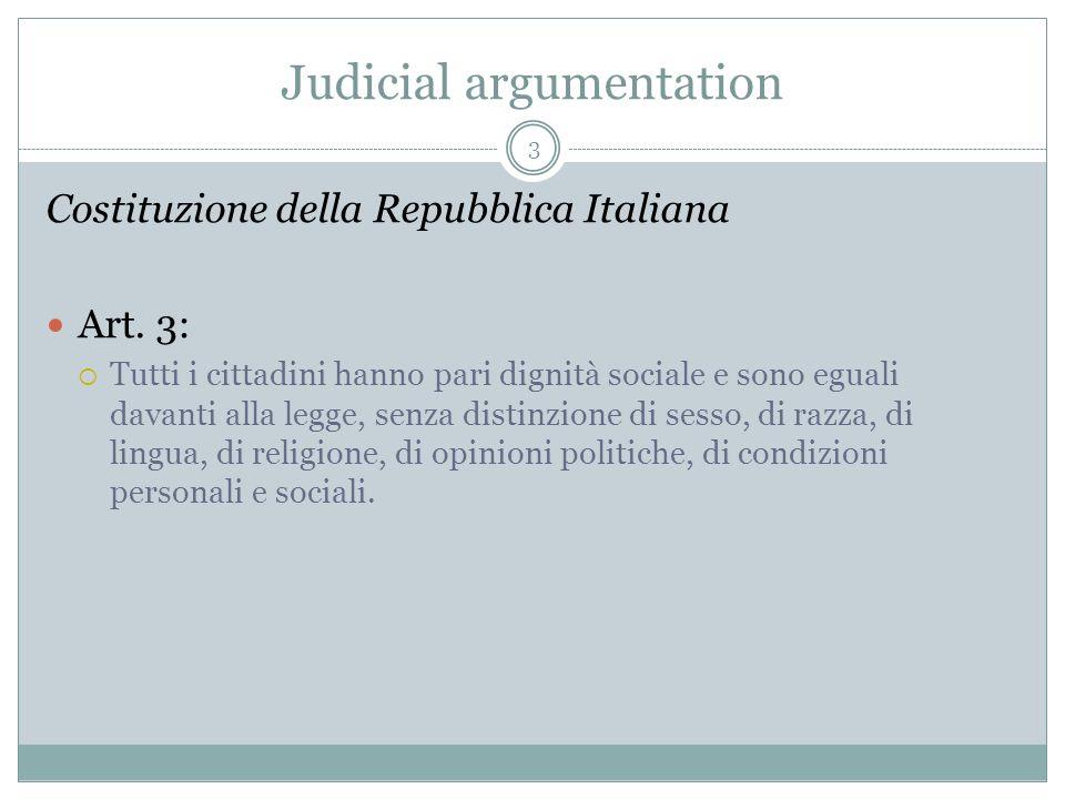 Judicial argumentation Costituzione della Repubblica Italiana Art.