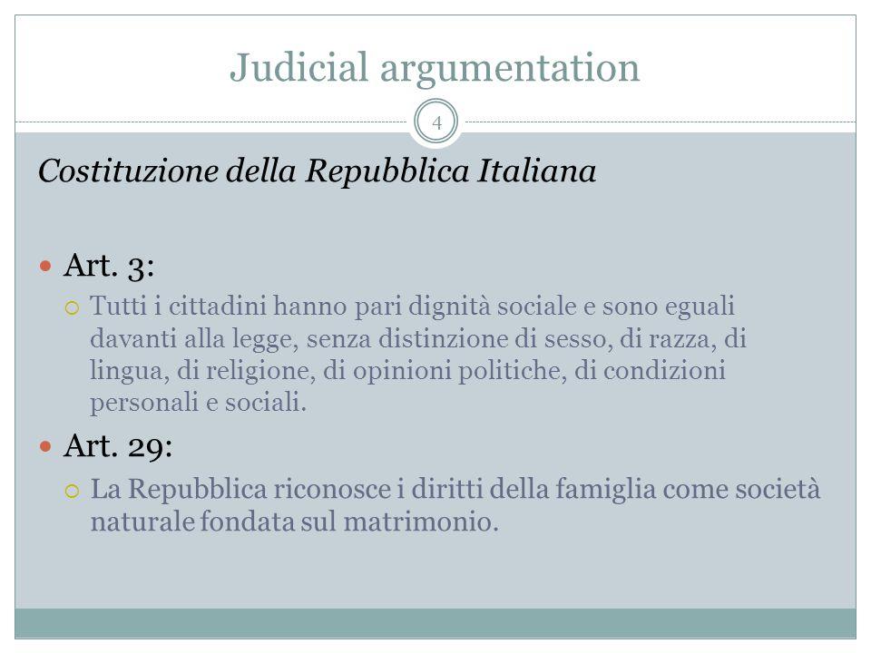 Judicial argumentation Costituzione della Repubblica Italiana Art. 3: Tutti i cittadini hanno pari dignità sociale e sono eguali davanti alla legge, s