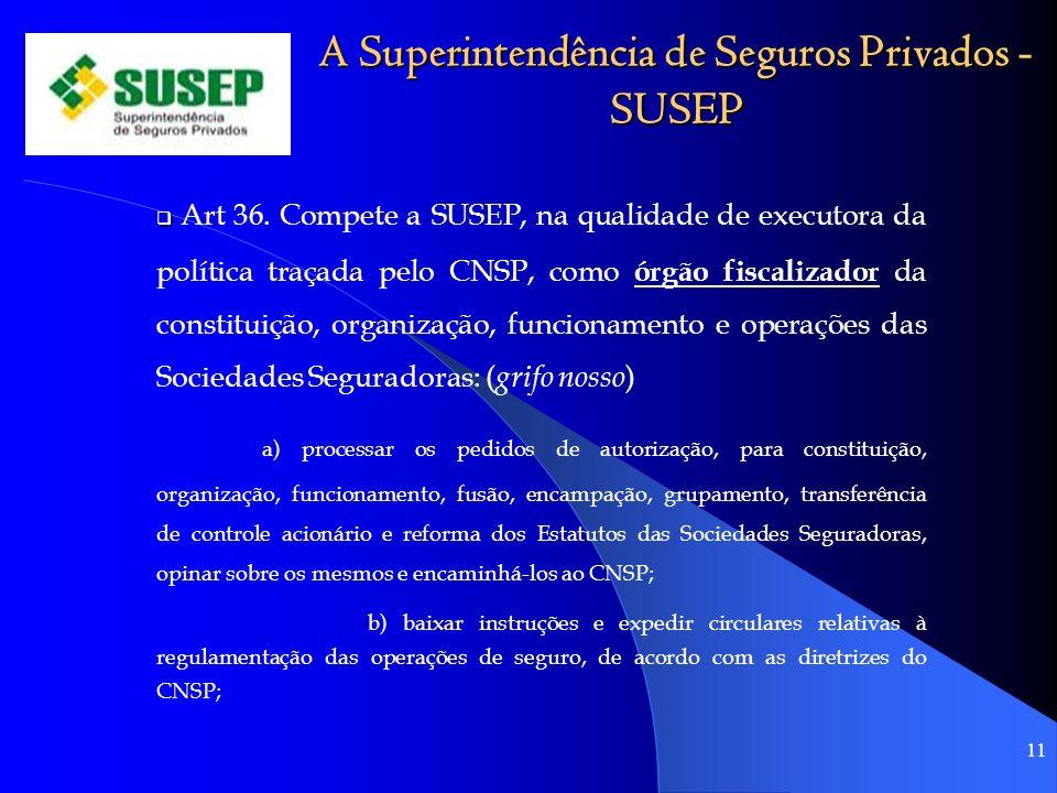 A Superintendência de Seguros Privados - SUSEP Art 36. Compete a SUSEP, na qualidade de executora da política traçada pelo CNSP, como órgão fiscalizad