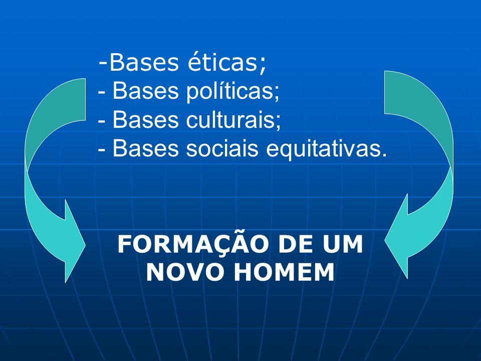 -Bases éticas; - Bases políticas; - Bases culturais; - Bases sociais equitativas. FORMAÇÃO DE UM NOVO HOMEM