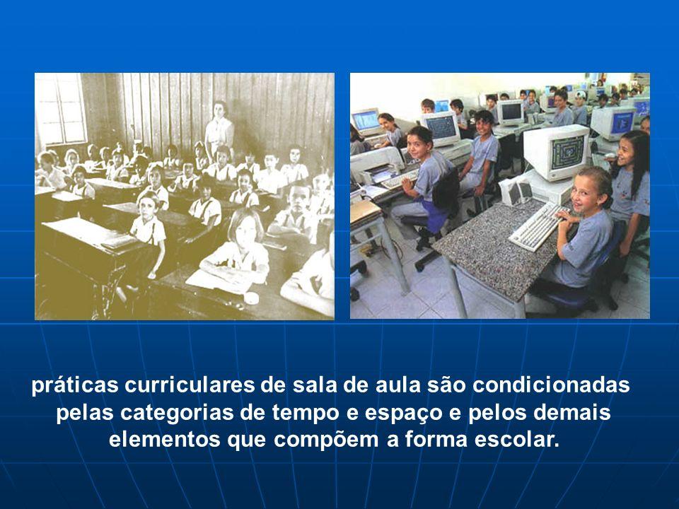 práticas curriculares de sala de aula são condicionadas pelas categorias de tempo e espaço e pelos demais elementos que compõem a forma escolar.
