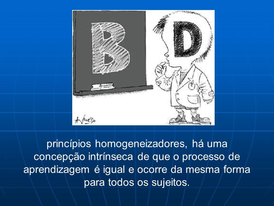 princípios homogeneizadores, há uma concepção intrínseca de que o processo de aprendizagem é igual e ocorre da mesma forma para todos os sujeitos.