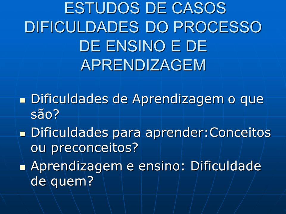 ESTUDOS DE CASOS DIFICULDADES DO PROCESSO DE ENSINO E DE APRENDIZAGEM ESTUDOS DE CASOS DIFICULDADES DO PROCESSO DE ENSINO E DE APRENDIZAGEM Dificuldad