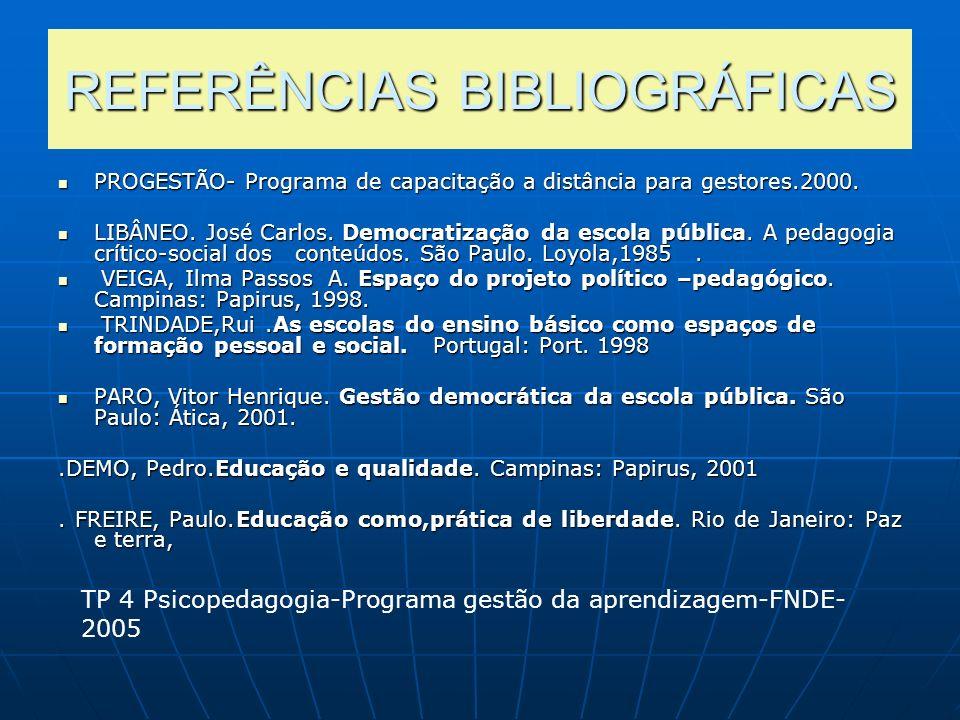 REFERÊNCIAS BIBLIOGRÁFICAS PROGESTÃO- Programa de capacitação a distância para gestores.2000. PROGESTÃO- Programa de capacitação a distância para gest