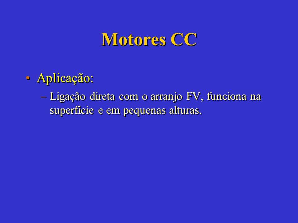 Motores CC Características: –Somente fabricados em potências a baixo de 15 HP. –Compatíveis com os arranjos FV. –Alto custo comparado ao motor CA. –Po
