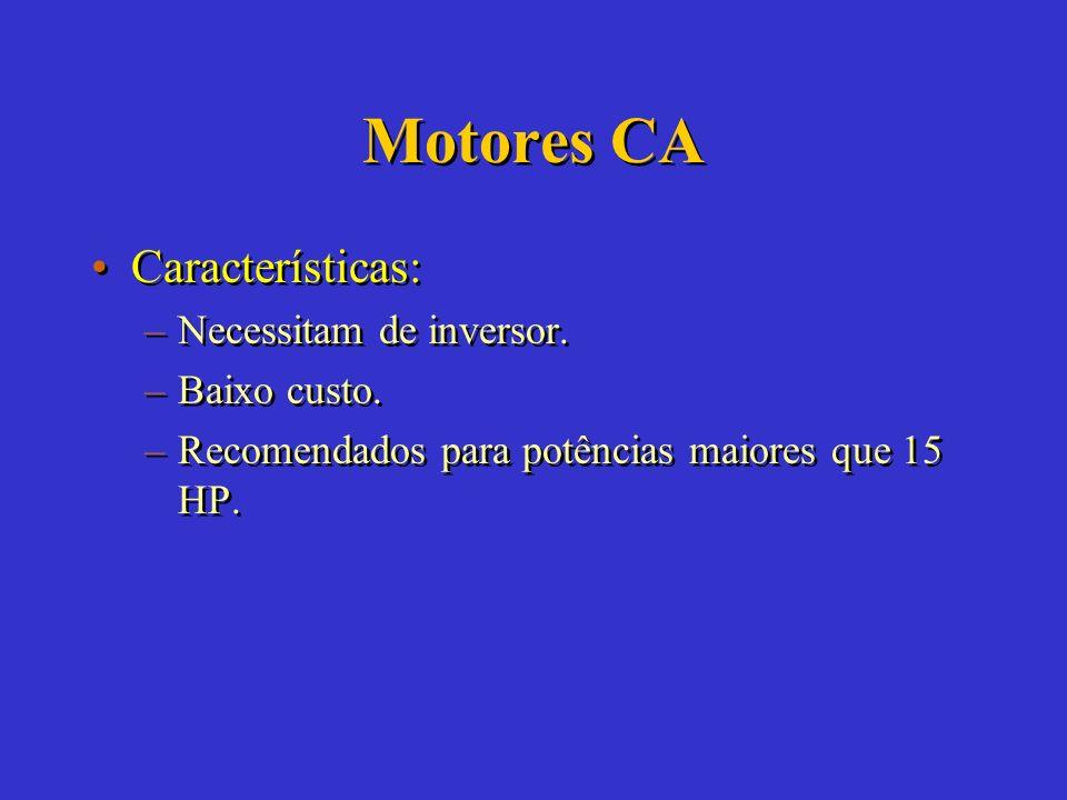 Motores CC Aplicação: –Ligação direta com o arranjo FV, funciona na superfície e em pequenas alturas. Aplicação: –Ligação direta com o arranjo FV, fun