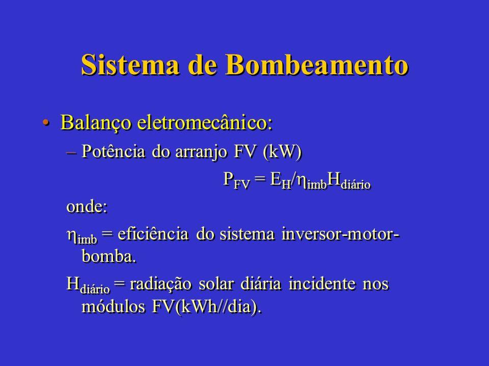 Sistema de Bombeamento Balanço eletromecânico: –Energia hidráulica (kWh/dia) E H = Dh T g onde: D = demanda diária de água (m 3 /dia). h T = altura to