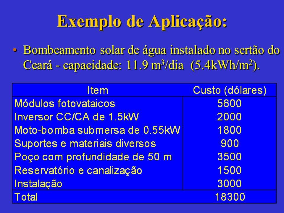 Sistema de Bombeamento Balanço eletromecânico: Vazão bombeada máxima (m 3 /dia) V bmáx = 367 x P FV imb /h T Nota: Este valor é importante porque defi