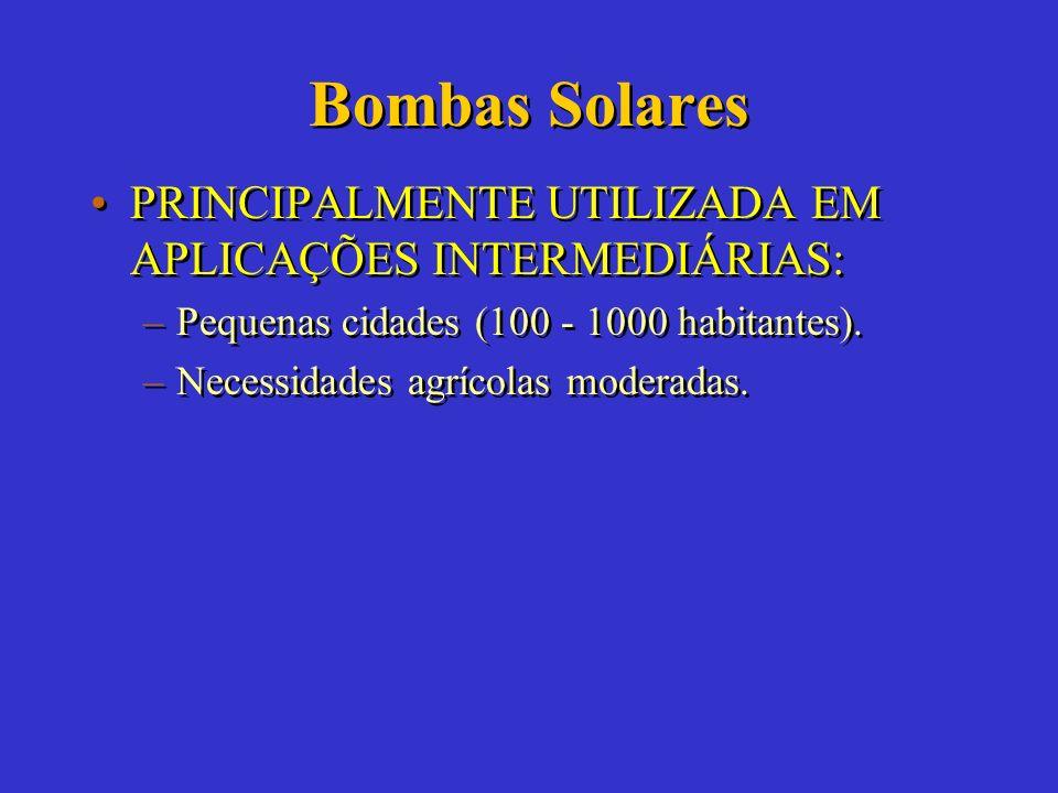 Bombas Solares DESVANTAGENS: –Custo inicial elevado. –Baixa produtividade em dias nublados. –Não-familiaridade da maioria dos usuários com o sistema.
