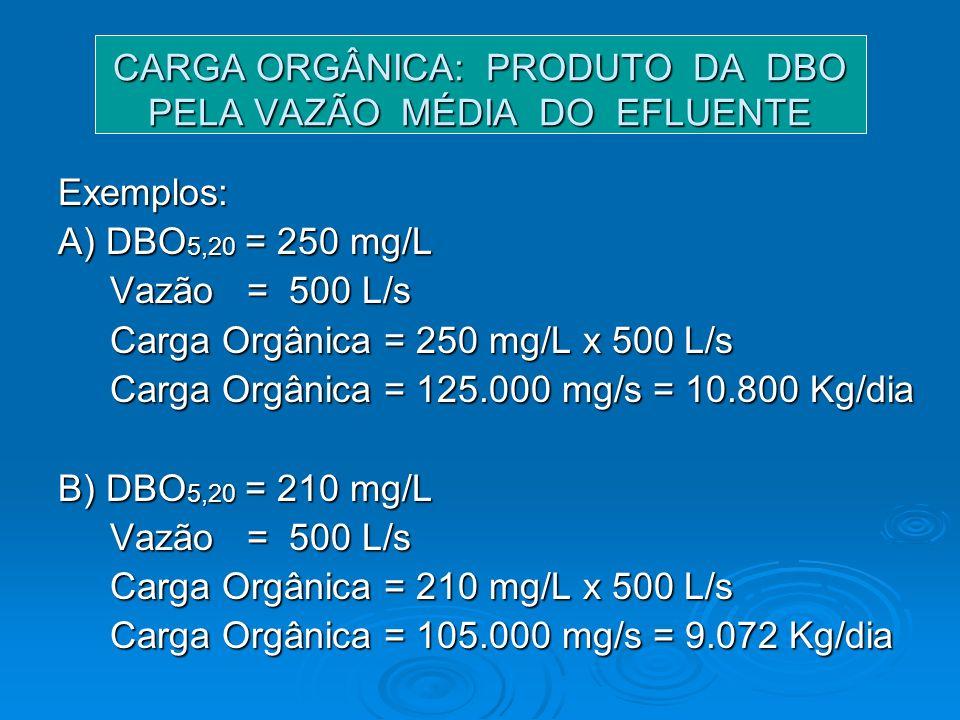 CARGA ORGÂNICA: PRODUTO DA DBO PELA VAZÃO MÉDIA DO EFLUENTE Exemplos: A) DBO 5,20 = 250 mg/L Vazão = 500 L/s Vazão = 500 L/s Carga Orgânica = 250 mg/L