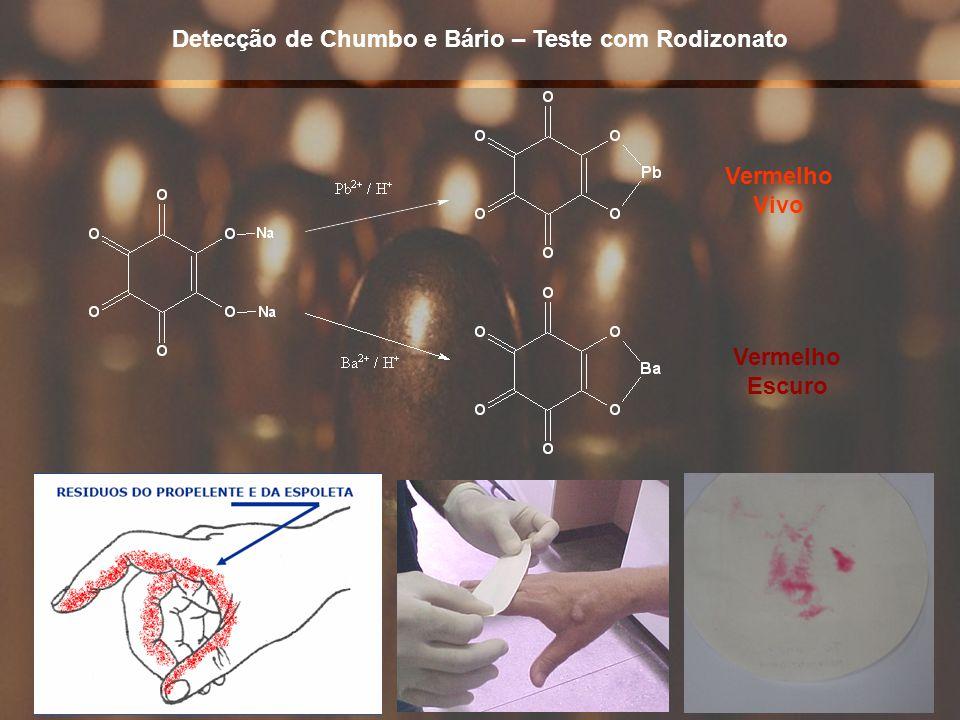 24 Detecção de Chumbo e Bário – Teste com Rodizonato Vermelho Vivo Vermelho Escuro
