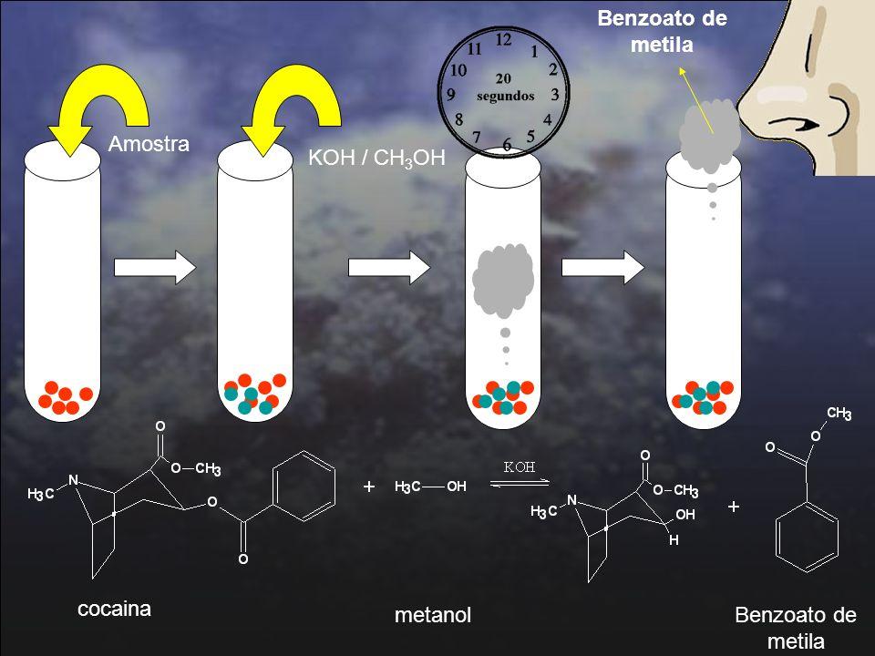 31 Amostra KOH / CH 3 OH Benzoato de metila cocaina metanolBenzoato de metila