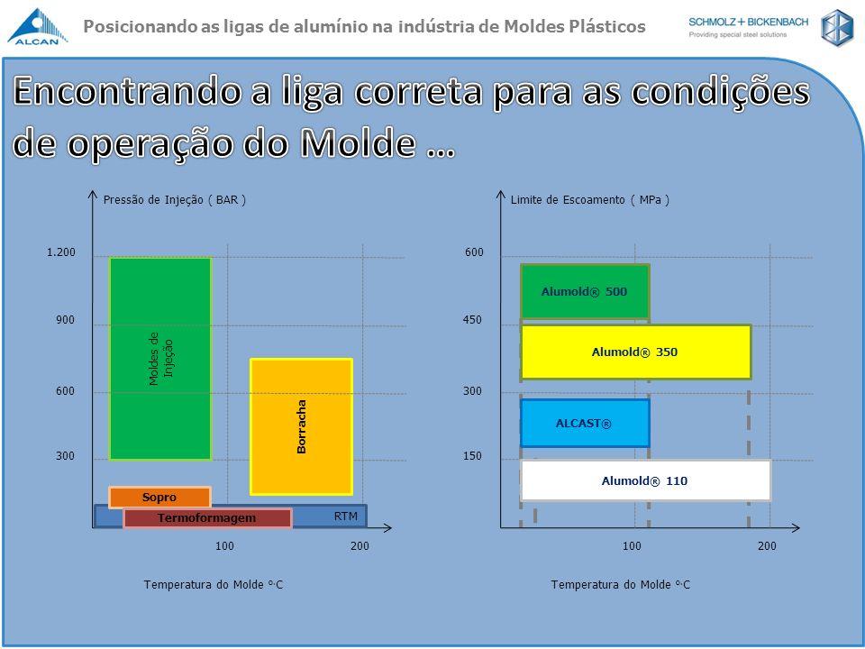 Pressão de Injeção ( BAR ) 300 600 900 1.200 Temperatura do Molde o. C 100200 Moldes de Injeção RTM Sopro Termoformagem Borracha Limite de Escoamento