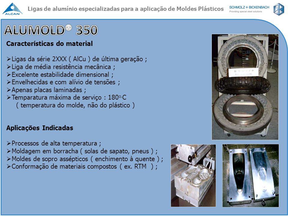 Características do material Ligas da série 2XXX ( AlCu ) de última geração ; Liga de média resistência mecânica ; Excelente estabilidade dimensional ;