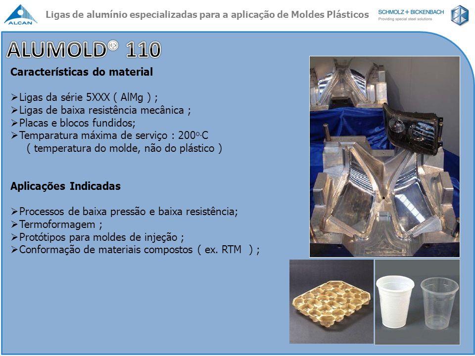 Características do material Ligas da série 5XXX ( AlMg ) ; Ligas de baixa resistência mecânica ; Placas e blocos fundidos; Temparatura máxima de servi