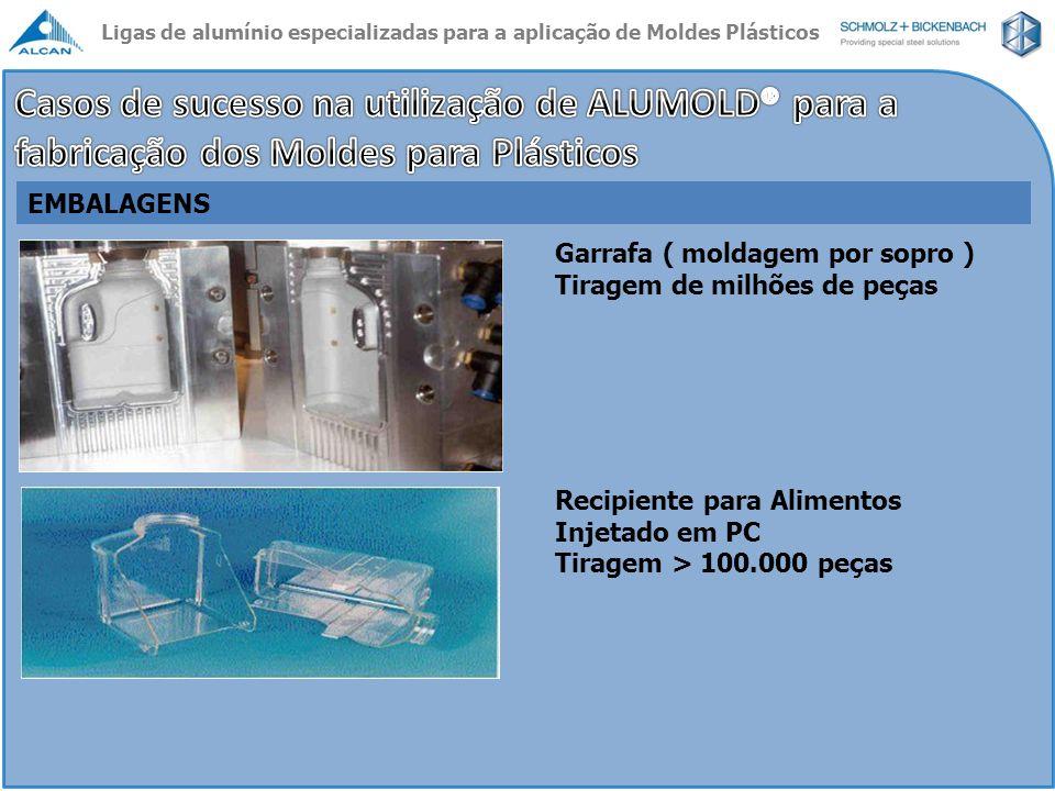 Garrafa ( moldagem por sopro ) Tiragem de milhões de peças Recipiente para Alimentos Injetado em PC Tiragem > 100.000 peças EMBALAGENS Ligas de alumín