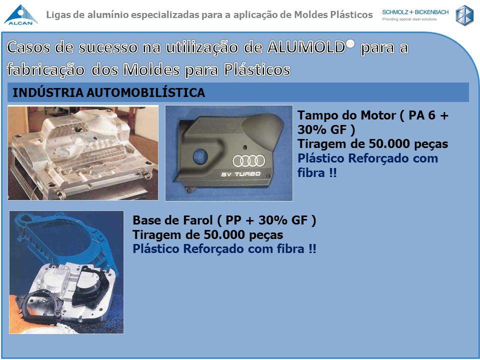 INDÚSTRIA AUTOMOBILÍSTICA Tampo do Motor ( PA 6 + 30% GF ) Tiragem de 50.000 peças Plástico Reforçado com fibra !! Base de Farol ( PP + 30% GF ) Tirag