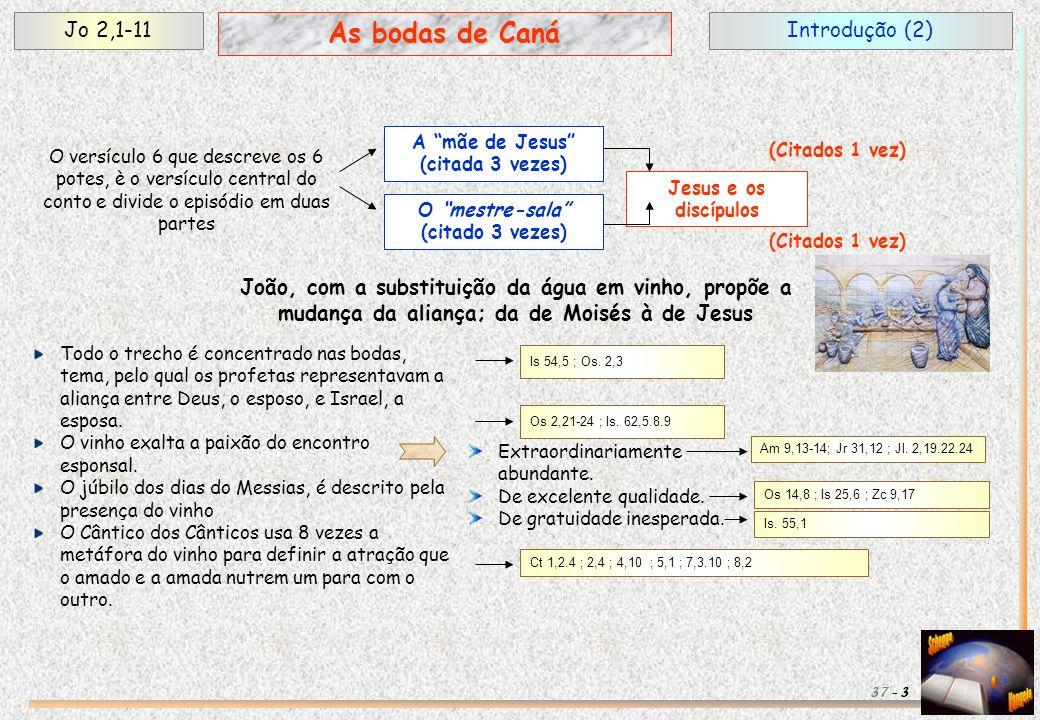 Introdução (2)Jo 2,1-11 3 As bodas de Caná 37 - O versículo 6 que descreve os 6 potes, è o versículo central do conto e divide o episódio em duas part