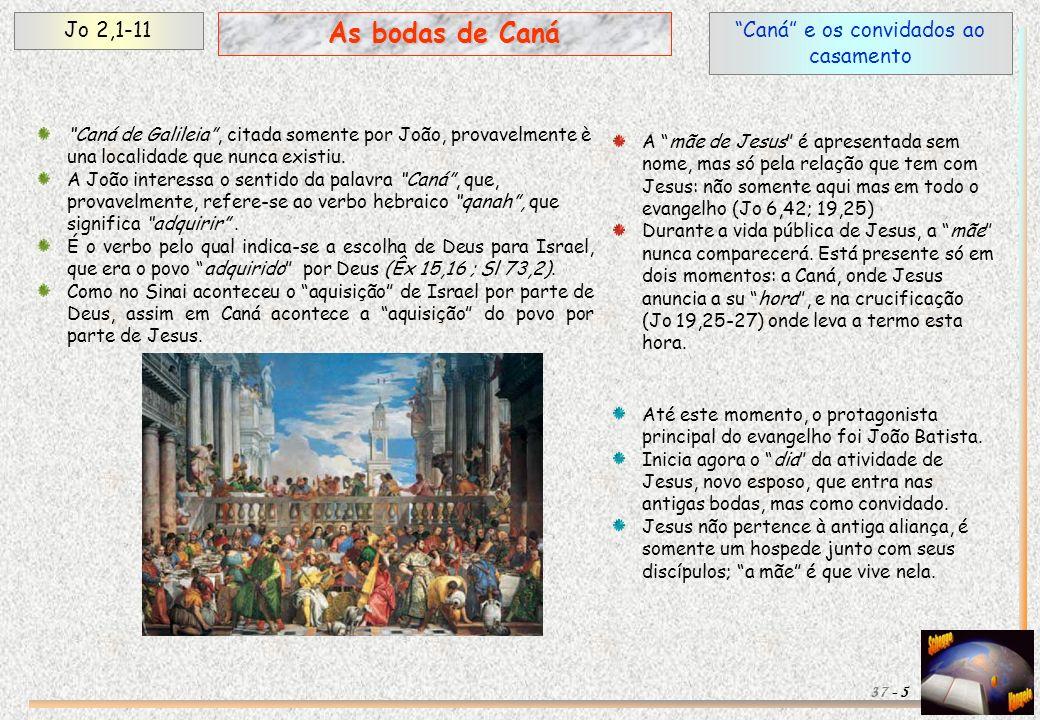 A falta do vinho e a intervenção da mãe (1) Jo 2,1-11 6 As bodas de Caná 37 - O vinho representa o amor dos esposos e é um elemento indispensável nas bodas.