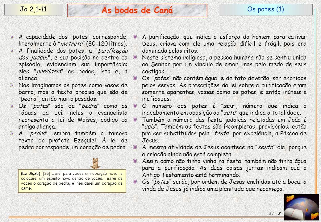 Os potes (1)Jo 2,1-11 8 As bodas de Caná 37 - A capacidade dos potes corresponde, literalmente à metreta (80-120 litros). A finalidade dos potes, a pu