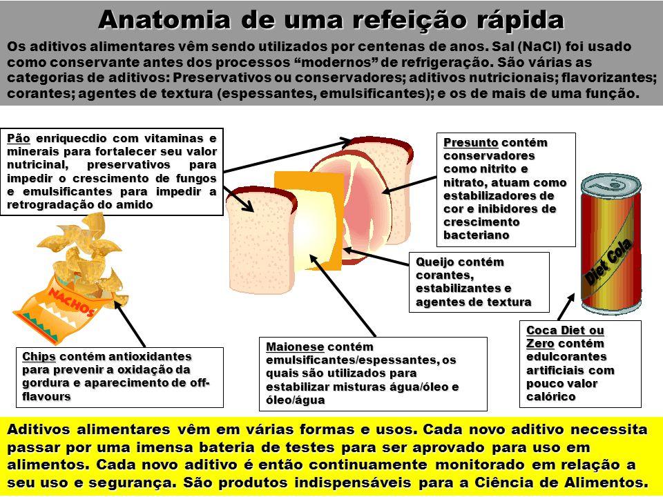 Anatomia de uma refeição rápida Aditivos alimentares vêm em várias formas e usos. Cada novo aditivo necessita passar por uma imensa bateria de testes