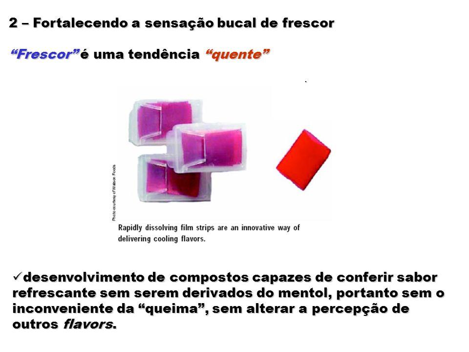2 – Fortalecendo a sensação bucal de frescor Frescor é uma tendência quente desenvolvimento de compostos capazes de conferir sabor refrescante sem ser
