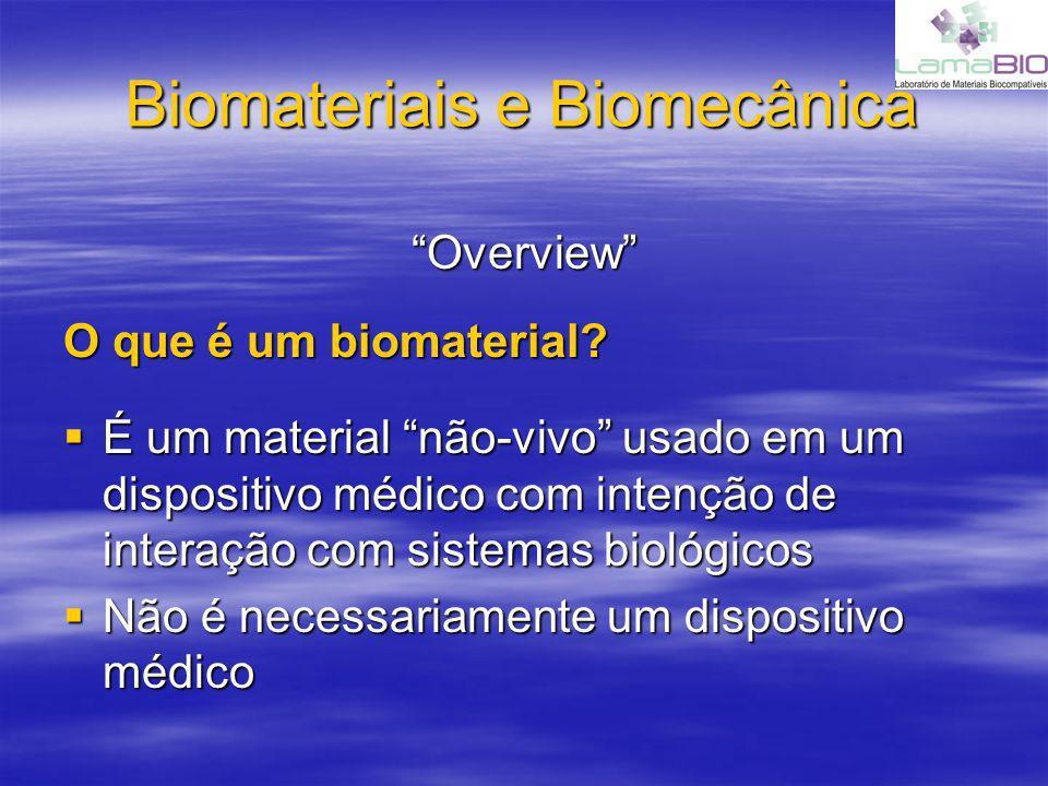 Biomateriais e Biomecânica Overview O que é um biomaterial? É um material não-vivo usado em um dispositivo médico com intenção de interação com sistem