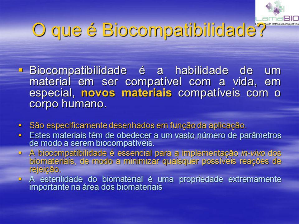 O que é Biocompatibilidade? Biocompatibilidade é a habilidade de um material em ser compatível com a vida, em especial, novos materiais compatíveis co