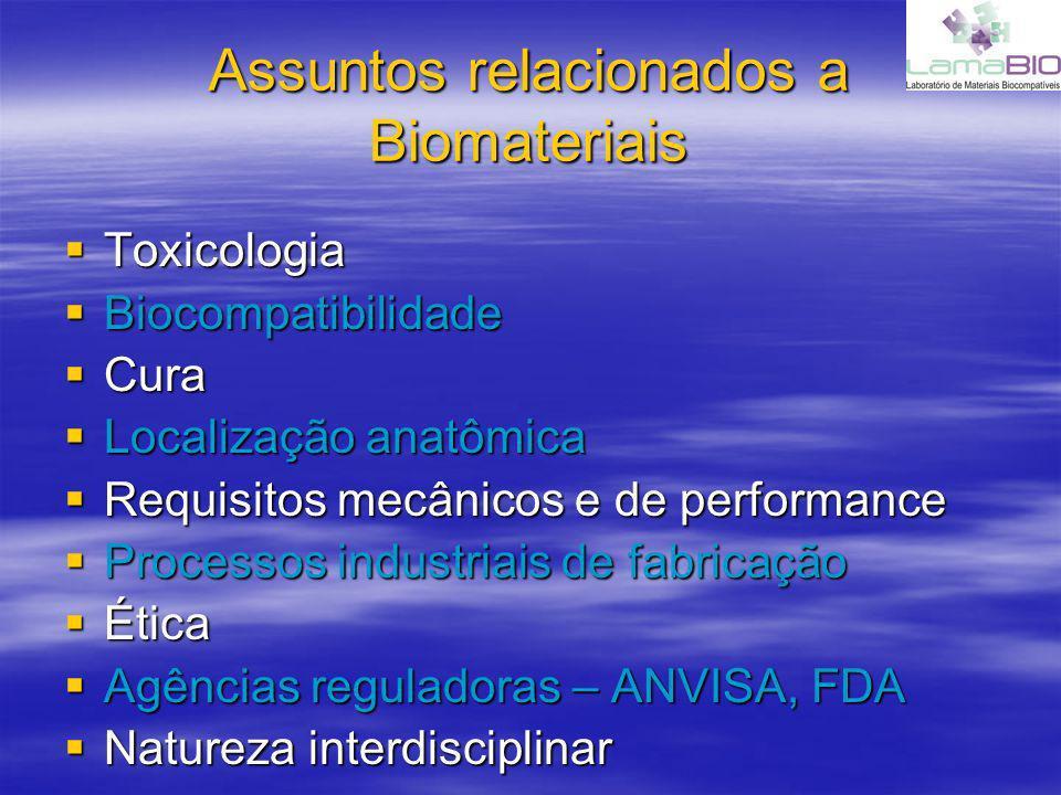 Assuntos relacionados a Biomateriais Toxicologia Toxicologia Biocompatibilidade Biocompatibilidade Cura Cura Localização anatômica Localização anatômi