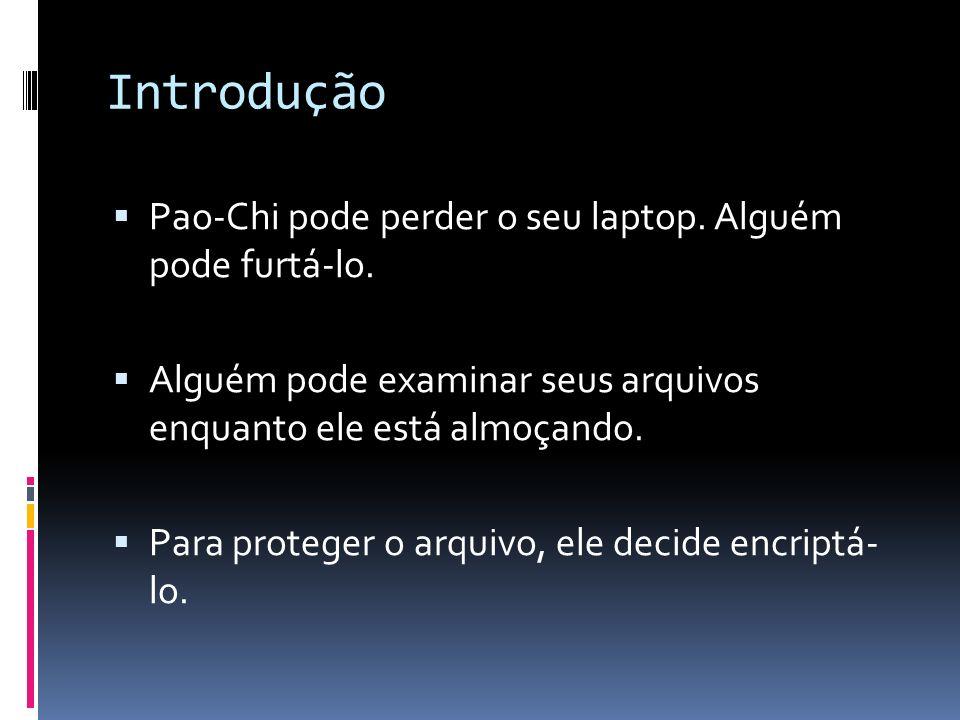 Introdução Pao-Chi pode perder o seu laptop. Alguém pode furtá-lo. Alguém pode examinar seus arquivos enquanto ele está almoçando. Para proteger o arq