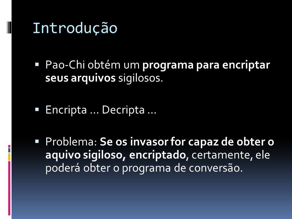 Introdução Pao-Chi obtém um programa para encriptar seus arquivos sigilosos. Encripta … Decripta … Problema: Se os invasor for capaz de obter o aquivo