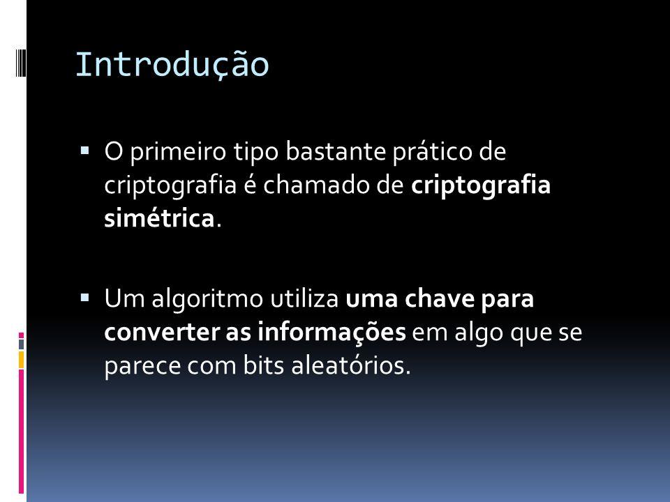 Introdução O primeiro tipo bastante prático de criptografia é chamado de criptografia simétrica. Um algoritmo utiliza uma chave para converter as info