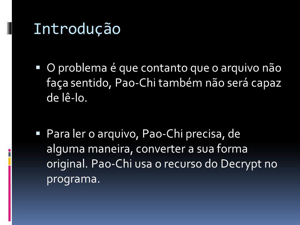 Introdução O problema é que contanto que o arquivo não faça sentido, Pao-Chi também não será capaz de lê-lo. Para ler o arquivo, Pao-Chi precisa, de a