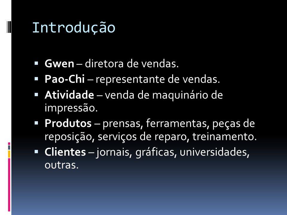 Introdução Gwen – diretora de vendas. Pao-Chi – representante de vendas. Atividade – venda de maquinário de impressão. Produtos – prensas, ferramentas