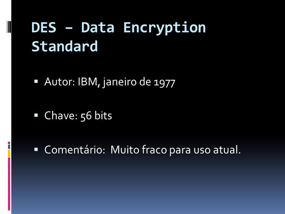 DES – Data Encryption Standard Autor: IBM, janeiro de 1977 Chave: 56 bits Comentário: Muito fraco para uso atual.
