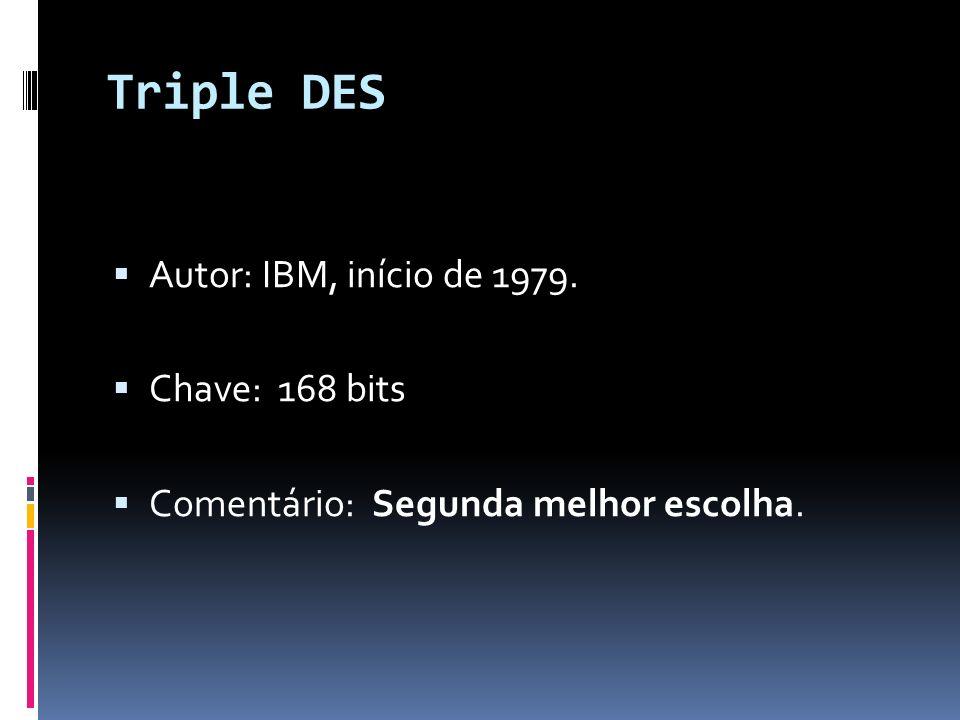 Triple DES Autor: IBM, início de 1979. Chave: 168 bits Comentário: Segunda melhor escolha.