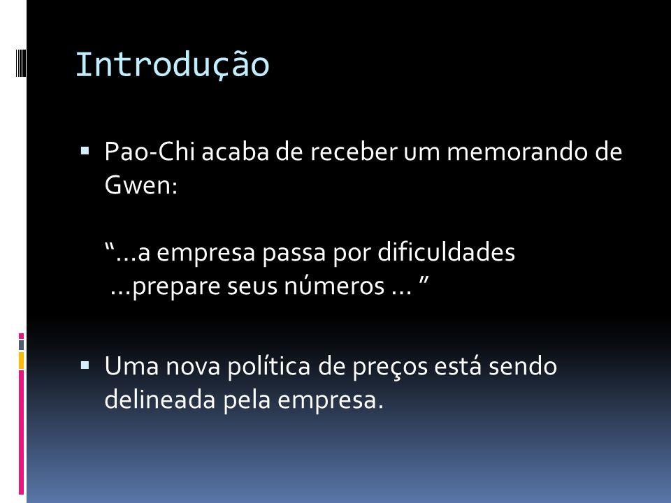 Introdução Pao-Chi acaba de receber um memorando de Gwen: …a empresa passa por dificuldades …prepare seus números … Uma nova política de preços está s