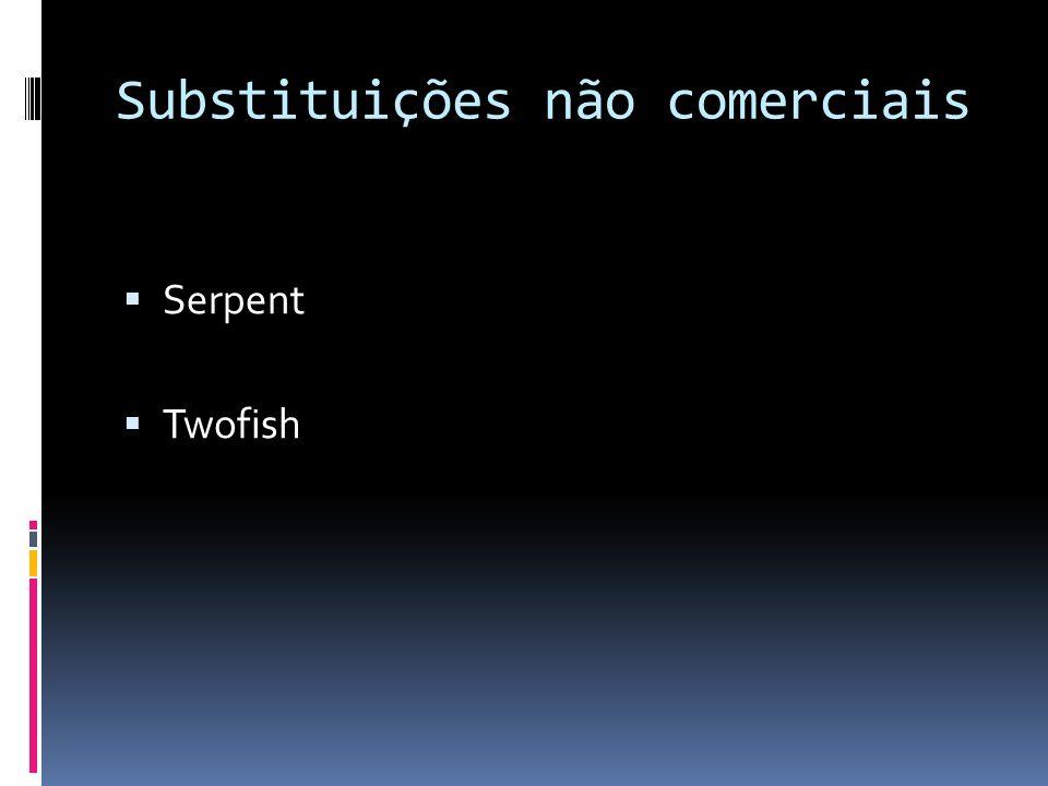 Substituições não comerciais Serpent Twofish