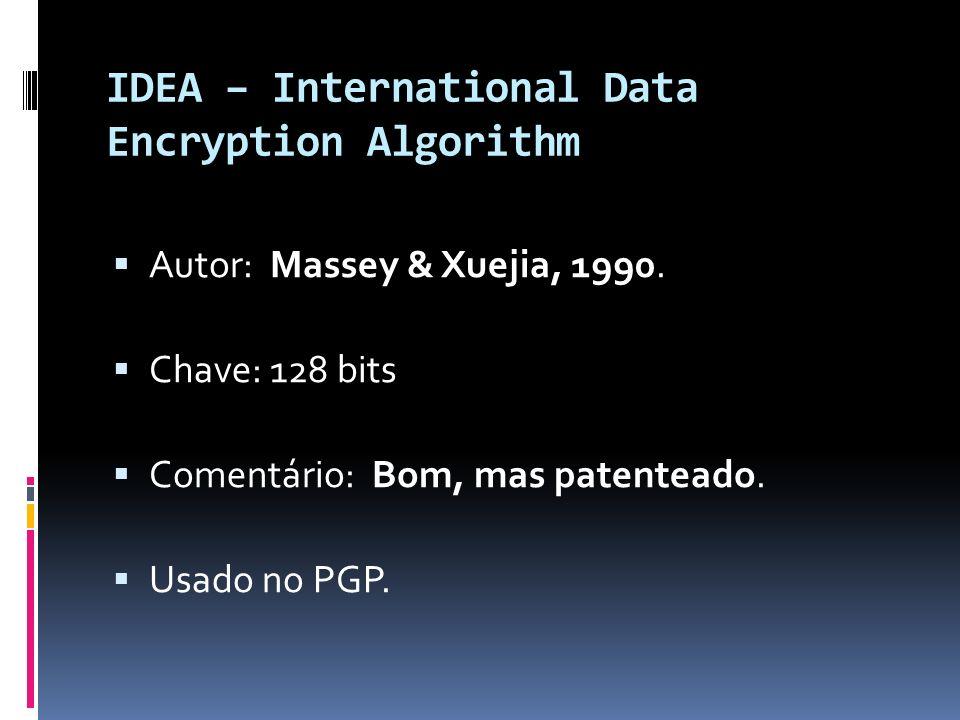 IDEA – International Data Encryption Algorithm Autor: Massey & Xuejia, 1990. Chave: 128 bits Comentário: Bom, mas patenteado. Usado no PGP.
