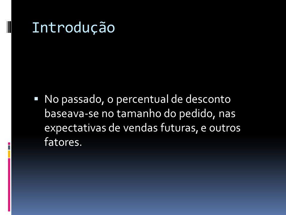 Introdução No passado, o percentual de desconto baseava-se no tamanho do pedido, nas expectativas de vendas futuras, e outros fatores.