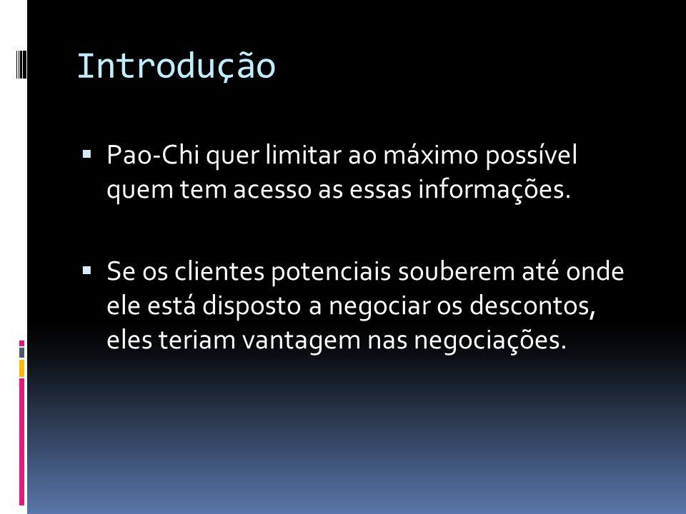 Introdução Pao-Chi quer limitar ao máximo possível quem tem acesso as essas informações. Se os clientes potenciais souberem até onde ele está disposto