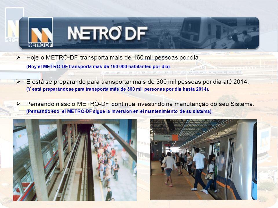 Hoje o METRÔ-DF transporta mais de 160 mil pessoas por dia (Hoy el METRO-DF transporta más de 160 000 habitantes por día). E está se preparando para t