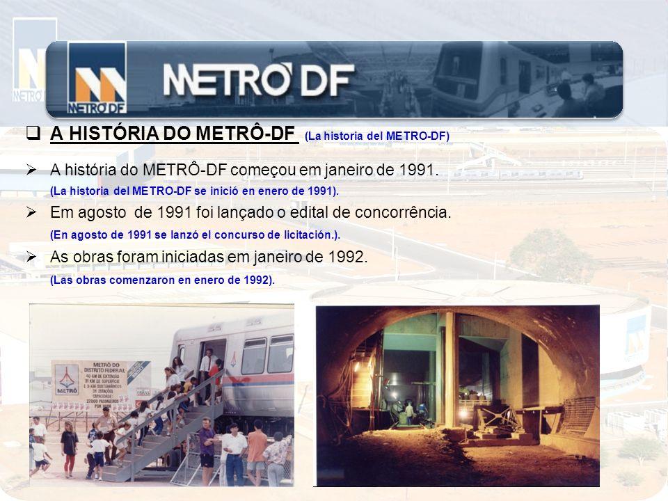 A HISTÓRIA DO METRÔ-DF (La historia del METRO-DF) Em dezembro de 1993 foi criada a Companhia do Metropolitano do Distrito Federal, com a missão de operar o novo tipo de transporte.