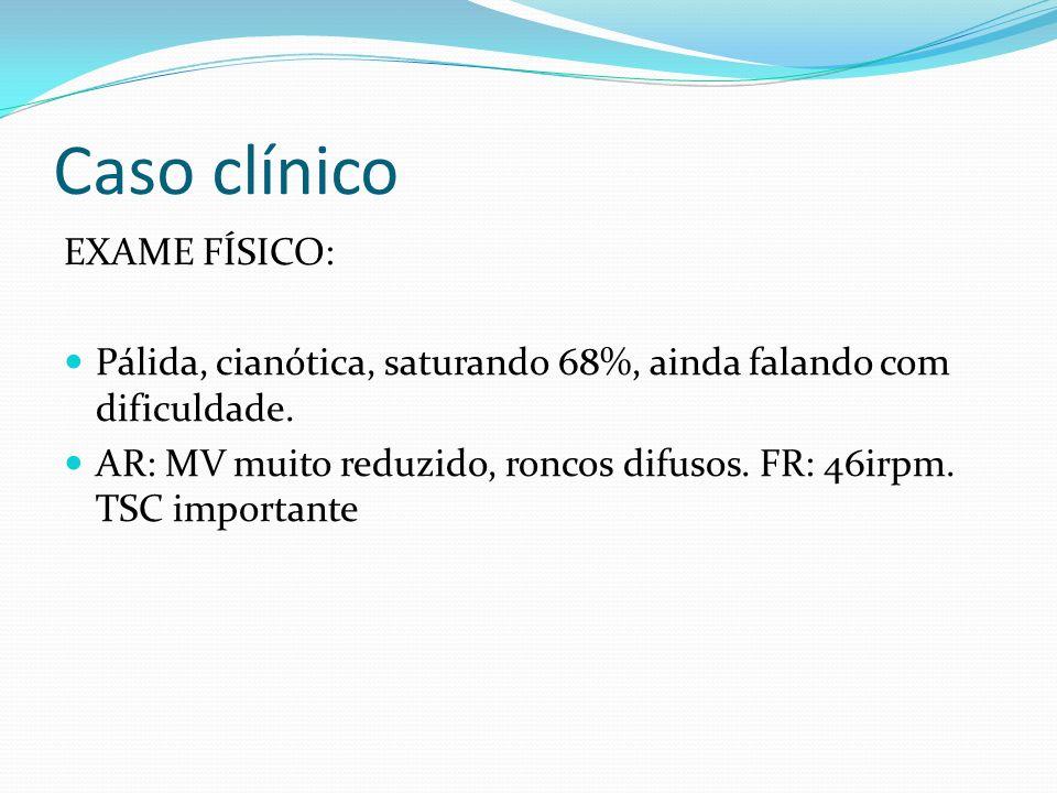 Caso clínico EXAME FÍSICO: Pálida, cianótica, saturando 68%, ainda falando com dificuldade. AR: MV muito reduzido, roncos difusos. FR: 46irpm. TSC imp