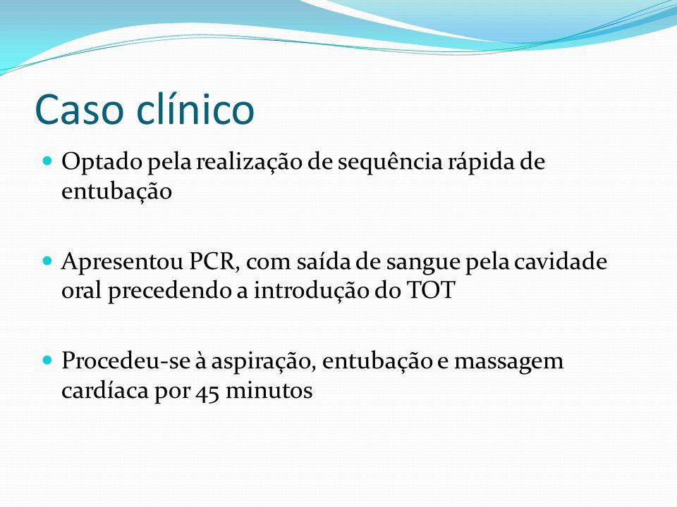 Caso clínico Optado pela realização de sequência rápida de entubação Apresentou PCR, com saída de sangue pela cavidade oral precedendo a introdução do