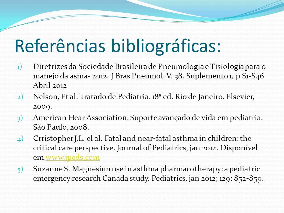 Referências bibliográficas: 1) Diretrizes da Sociedade Brasileira de Pneumologia e Tisiologia para o manejo da asma- 2012. J Bras Pneumol. V. 38. Supl
